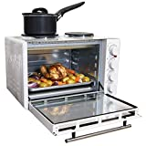 Igenix IG7130 Mini Oven with Electric Grill and Double Hotplate Hob, Ideal for Roasting, Baking, Grilling and Reheating with Aluminium Baking Tray, 30 Litre, White