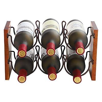 Fox Flower Wine Rack, Tabletop Wine Holder Freestanding Wine Storage with Metal Wood Frame Countertop Wine Shelf for Home Bar Cabinet Pantry