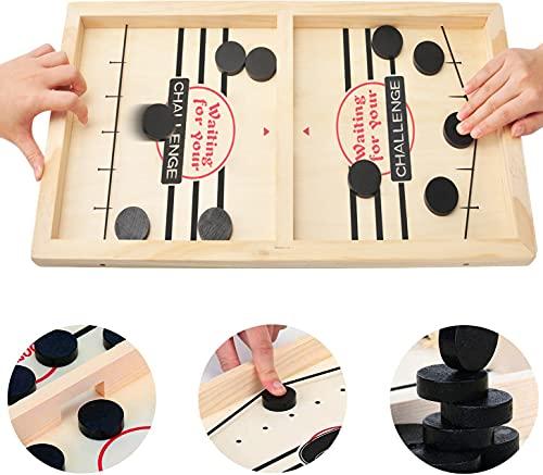 MOMSIV Jeu de Table de Hockey en Bois,Jeux de société de Table rapide Hockey fronde jeu de rondelle rythmé fronde palet gagnant amusant jouets en bois jeu de fête jouets (Adulte)
