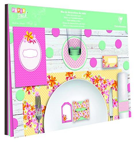 Clairefontaine 97724C - Un bloc décorations de Table comprenant 1 menu, 6 dessous de verre, 6 boites cadeau, 6 étiquettes cadeaux, 6 marques pages, 6 sets de table 40x30 cm et 34 confettis, Printemps