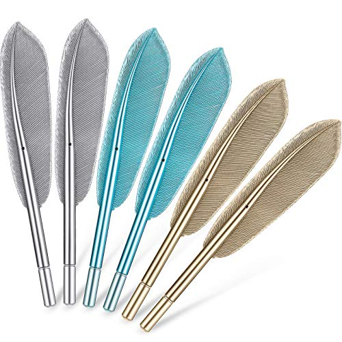 6 Pieces Feather Pens Cute Ballpoint Pen Artificial Wing Feather Black Gel Ink Pens Fun Rollerball Pens for Teachers Students Stationary School Office Supplies, Blue, Gold, Silver