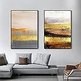 Arte de pared moderno abstracto nórdico lámina de oro lienzo póster imágenes impresas para sala de estar estudio oficina hotel decoración del hogar (50x70 cm) x2 sin marco