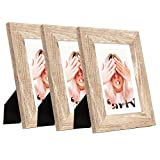 Wide Molding 5x7 Picture Frame, Made of HD Glass Display Picture 4x6 with Mat, Light Brown Rustic Wooden Photo...