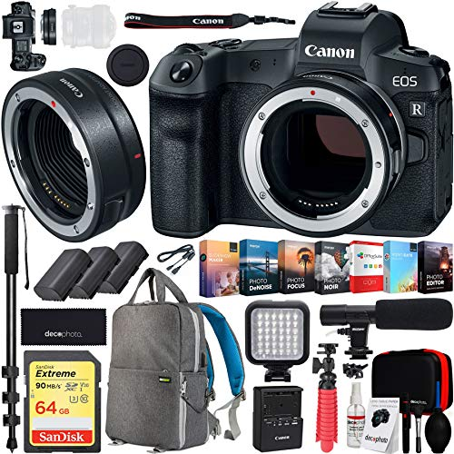 Canon EOS R 30.3MP Mirrorless Full Frame Digital Camera Body Bundle with 64GB Memory Card, Photo and Video Professional Editing Suite and Accessories (8 Items)