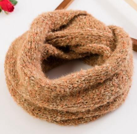 WJoruoo WJoru@,Multifunktionaler Schal,Grober einfarbiger Kragen der Wolle,Paar gestrickte Schals,Wollschal,Orange,38 * 68cm