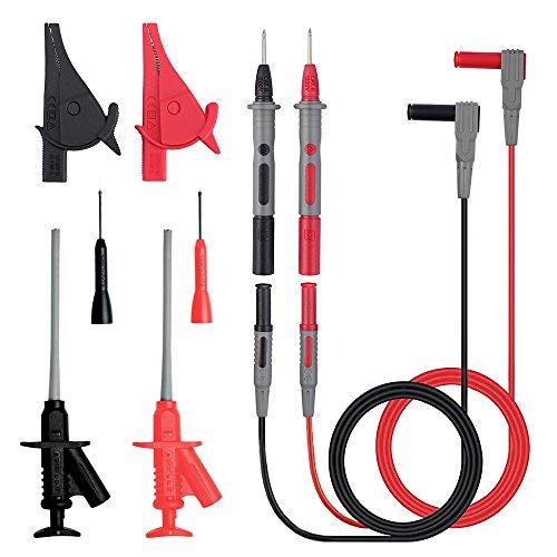Messleitungen, HUYU Messleitungen für Multimeter, Messspitzen Kabel Set, Professionelles Multimeter Zubehör Set, mit Verlängerungskabel, 2mm/1mm Prüfspitze, Abgreifklemmen, etc. 10 Stk.
