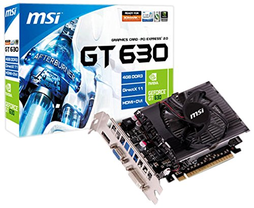 MSI NVIDIA GeForce GT 630 Grafikkarte (PCI-e, 4GB, GDDR3 Speicher, DVI, HDMI, DisplayPort, 1 GPU)