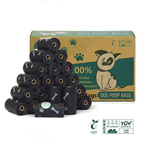 Green Maker 100% kompostierbare Hundekotbeutel 360 Beutel Biologisch abbaubare Hundekotbeutel aus Maisstärke mit EN13432 und Home Compos Zertifizierungen (Schwarz)