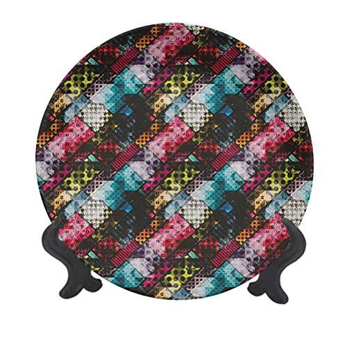 Plato decorativo de cerámica para colgar de 15,24 cm, diseño abstracto con lunares de tartán con efecto murky, diagonales, patrón Kitsch, plato decorativo de cerámica para mesa de comedor, catering
