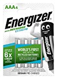 Energizer Piles Rechargeables AAA, Recharge Extreme, Lot de 4