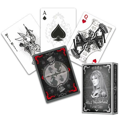 LuxTri Alice im Wunderland Kartenspiel, Silver Edition, Alice of Wonderland Pokerdeck + Gratis Profi-Pokerchip , Spielkarten, Pokerkarten, Playing Cards, Alice of Wonderland