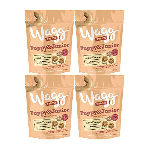 Wagg Complementary Dog Puppy & Junior Meaty Bites Treats Chicken & Yoghurt 120g (4 Pack)