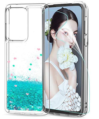 LeYi Funda Samsung Galaxy S20 Ultra / S20 Ultra 5G Silicona Purpurina Carcasa con HD Protector de Pantalla, Transparente Cristal Bumper Telefono Gel TPU Case Cover para Movil S20 Ultra ZX Verde