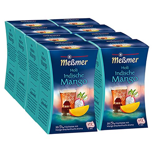 Meßmer Indischer Holi Drachenfrucht-Mango, 20 Beutel, 8er Pack (8 x 50 g)