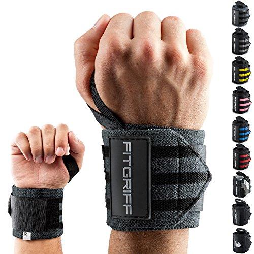 Fitgriff Handgelenk Bandagen [Wrist Wraps] 45 cm Handgelenkbandage für Fitness, Bodybuilding, Kraftsport & Crossfit - für Frauen und Männer - (Grau)
