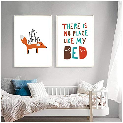 zhaoyangeng houten vos kinderkamer decor cartoon schilderij op canvas poster en kunstdruk wandafbeeldingen voor de kinderkamer Home decoratie - 50X70Cmx2 niet ingelijst