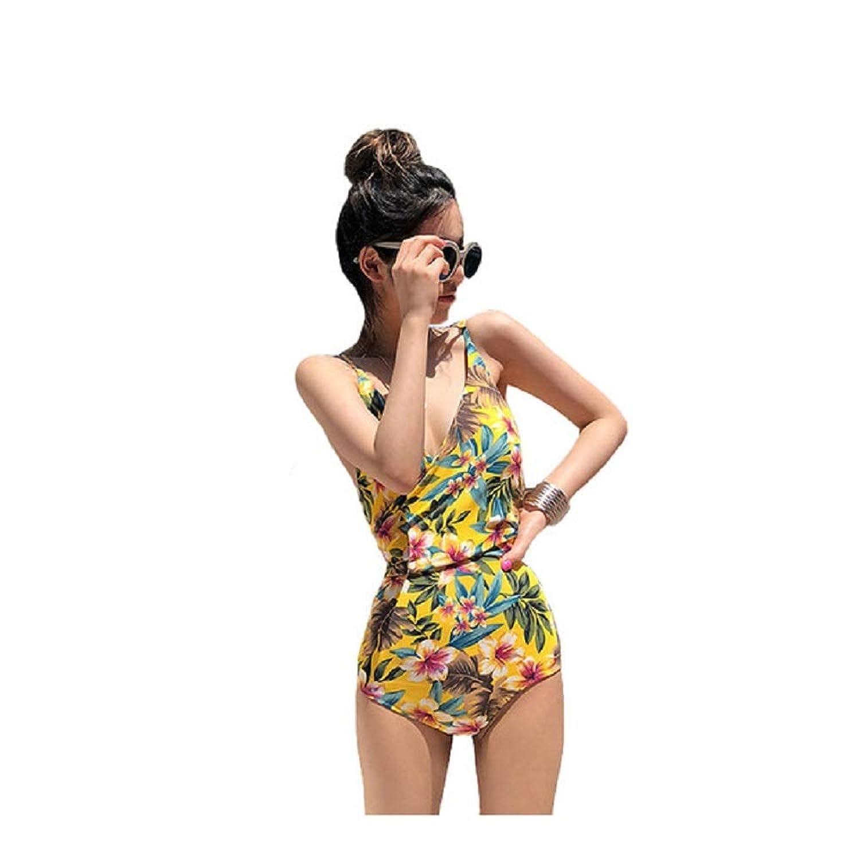女性のワンピース水着花柄ホルタービキニささやかなハイウエスト水着 (Size : XL)