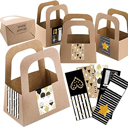 Logbuch-Verlag 5 pequeños paquetes de regalo – Cesta de papel kraft + pegatina de regalo para Navidad y cumpleaños