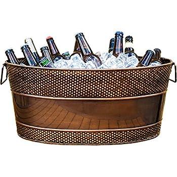 BREKX Aspen Galvanized Copper-Finish Metal Ice and Drink Bucket Beverage Tub for Parties 25-Quart