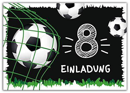 12 Einladungskarten zum 8. Kindergeburtstag achte Geburtstag Jungen Fussball Fußball