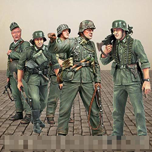 Weizhang 1/35 Kit sin Montar y sin Pintar de Soldados de la Segunda Guerra Mundial (5 Personas) Tema Militar