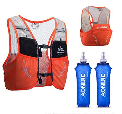 AONIJIE Lovtour Hydration Race Vest,2.5L Running Vest Lightweight Pack with 2 Soft Water Bottles Bladder for Marathoner Running Race Cycling Hiking Camping Biking (Orange(M-L))