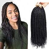 6Pcs 16inch 30stands Senegalese Twist Crochet Hair Braids Senegalese Twist Crochet Braiding Hair Low Temperature Fiber Synthetic Crochet Hair Extensions (1B)