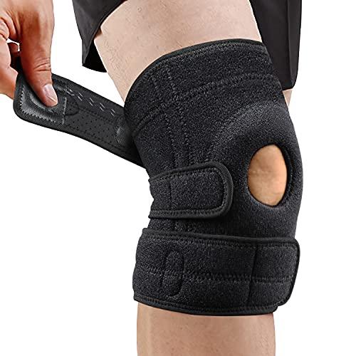 Rodillera ortopédica con estabilizadores laterales, rodillera deportiva, compresión, rodilla con correas mágicas ajustables, para deporte y recuperación postoperatoria