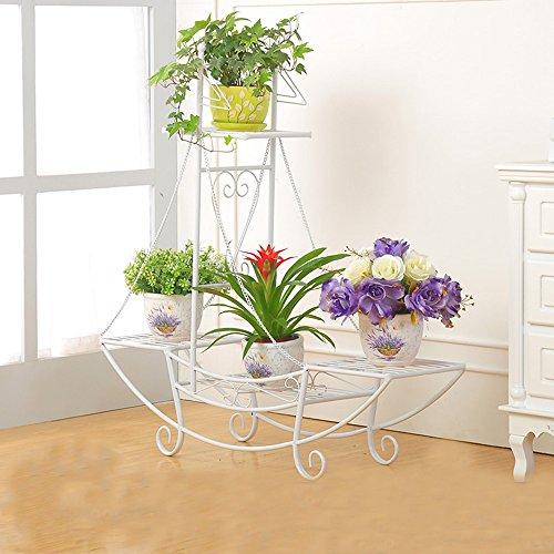 Poteaux de Fleurs en Forme de Plancher en Fleurs de Plancher Balcon en Forme de Bateau en Europe étagère à Plusieurs étages (Couleur : Blanc, Taille : 86 * 23 * 90cm)