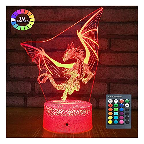 Dragon Lamp Dragon Night Light Kids Night Light,16 Colors with Remote 3D Optical Illusion Kids Lamp Christmas Birthday Gifts for Boys and Girls