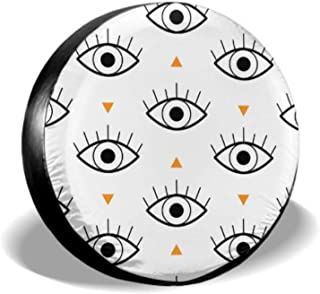 Cartoon Big Eye Fashion Style Car Tire Cover Cover Spare Tire Tire Cover Waterproof Uv Sun 14 - 17 Fit for Jeep Trailer Rv SUV and Many Vehicle