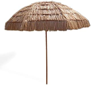 Impact Canopy 8' Hawaiian Tiki Umbrella, Pool Patio Beach Umbrella, Thatched Tiki