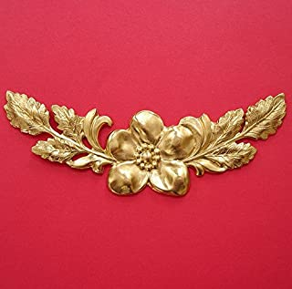 BeadsTreasure Large Branch Leaf Flowers Embellishment Raw Brass Stamping.