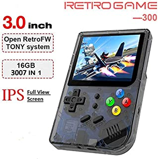 MJKJ Handheld Game Console , RG300 Retro Game Console OpenDingux Tony System , Built-in 3007 Classic Game Console 3 Inch IPS Screen Portable Video Game Console - Transparent Black