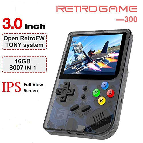 Handheld Game Console , RG300 Retro Game Console OpenDingux Tony System , Free with 32G TF Card built-in 3007 Classic Game Console 3 Inch HD Screen Portable Video Game Console - Transparent Black