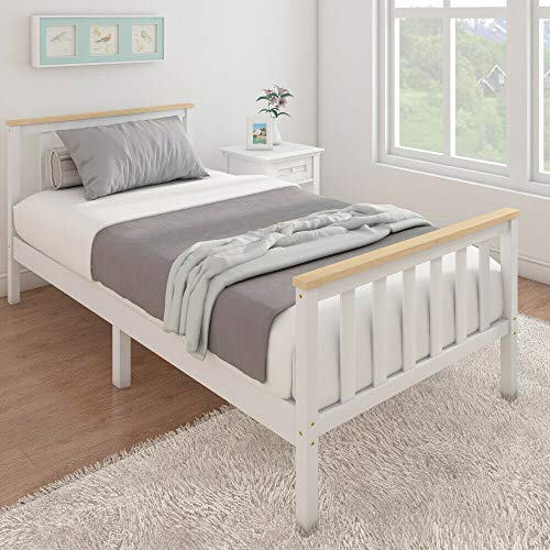 Storeinuk White Solid Wood 3FT Single Bed Frame Single Solid Pine Wooden Bed Frame Bedroom Furniture