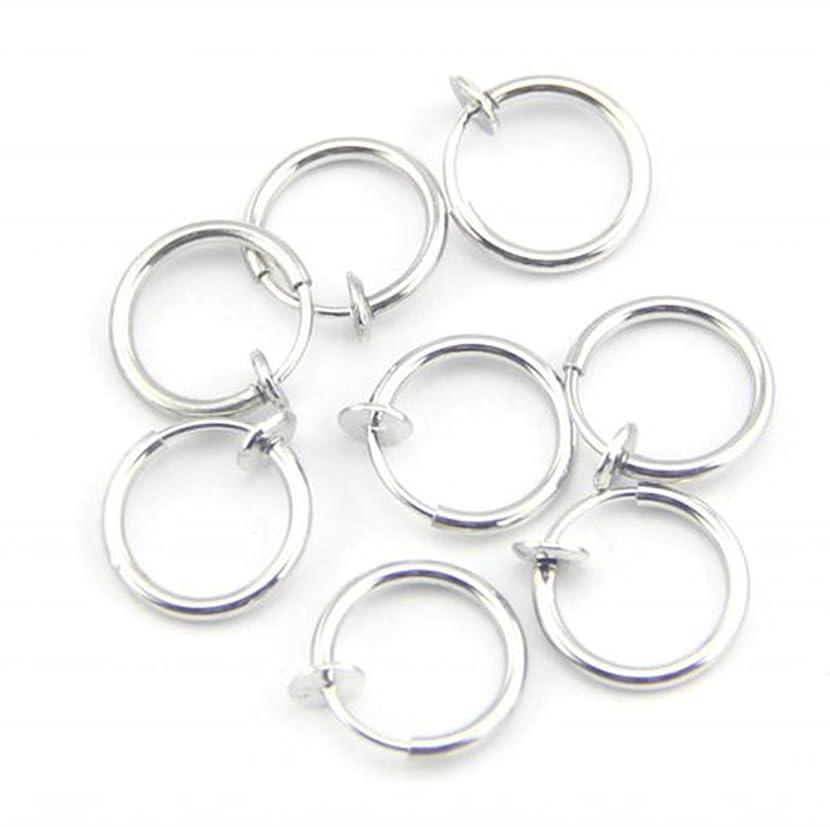 8pcs Clip on Non-pierced Hoops Fake Nose Lip Ear Rings Earrings Piercing