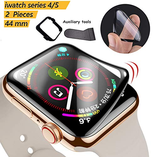 Apple Watch Screen Protector 44mm Series 4/5, Full Coverage Scratch-Resistant Anti-Bubble 3D Curved Soft Glass Flexible Film for iWatch 44mm Series 4/5 [with Installation Frame Easy Install ]