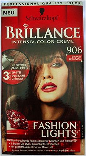 Schwarzkopf Brilliance Intensiv-Color Creme 906 Bronze Reflexion, 3 Stück (3x 142,5ml)