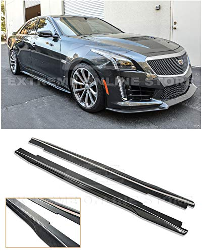 Replacement for 2016-Present Cadillac CTS-V | EOS Carbon Package Style Carbon Fiber Side Skirts Rocker Panel Extensions
