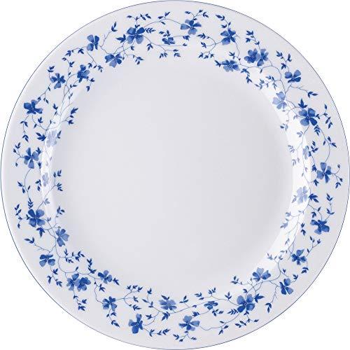 Arzberg 41382–607671–10025 Form 1382 Bleu Fleurs Assiette 25 cm/FA, Porcelaine, Blanc/Bleu, 26 x 26 x 7,9 cm