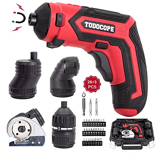 TODOCOPE 4 in 1 Electric Screwdriver Cordless, 4V MAX 1500mAh Li-ion Cordless Screwdriver Rechargeable, with 4 Multi-function Attachment and Charger