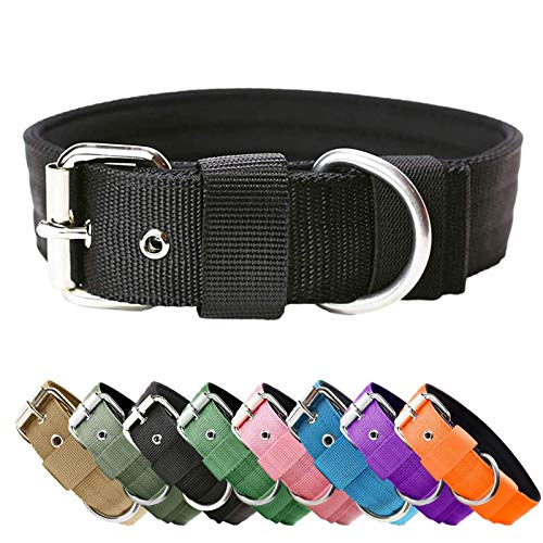 Heavy Duty Tactical Dog Collar - 1.5' Width Military Durable Thick Nylon with Adjustable Metal D Ring & Buckle Working Training K9 Collar for Medium Large Dogs (Black, S(14'-17'))