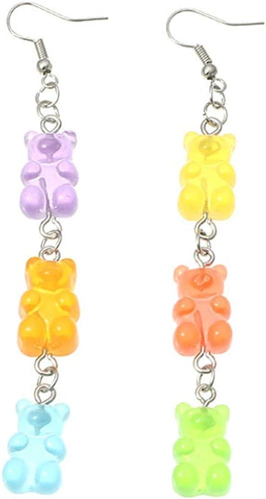 YIZHEN Colorful Gummy Resin Bear Necklace Earring Jewelry Set for Women Girls
