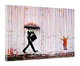 Banksy - Stampa colorata con stampa a pioggia su tela incorniciata, decorazione per la casa, Tela in tessuto, 12''x 8''inch(30x 20 cm) -18mm depth