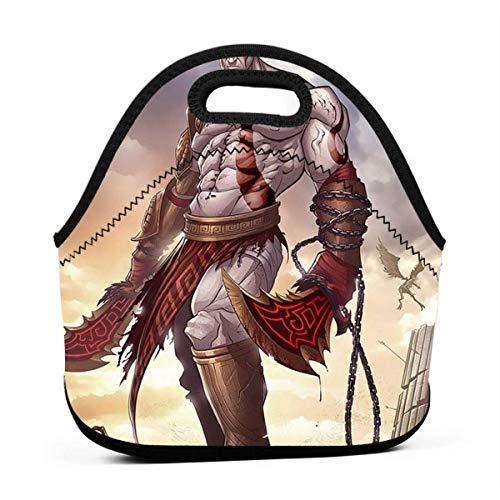 Lunch Tote Kratos God Of War Pop Mittagstasche Gourmet-Tasche Personalisierter Reißverschluss Multifunktionales Handtaschengeschenk Outdoor Fit Schularbeit Büro Grill