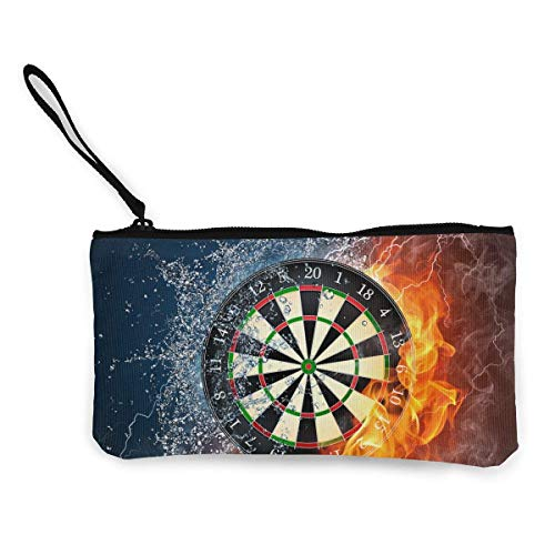 shuangshao liu Women's Canvas Zip Around Wallet Ladies Clutch Travel Purse Wrist Strap Dart Board Target Ice Fire