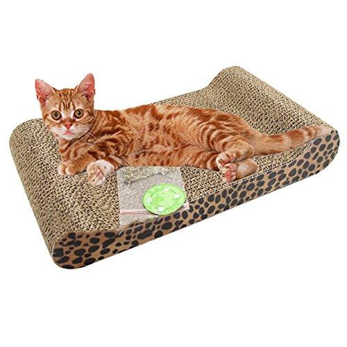 Hypeety Moderna tumbona de cartón corrugado para gatos y gatos, con su propio rascador para gatos que protege tus muebles y alfombras con su propio rascador