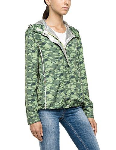 Replay, Damen Damen Funktionsjacke Wetterjacke Blouson Mit Kapuz Wetterjacke Green Camouflage XS [22106]