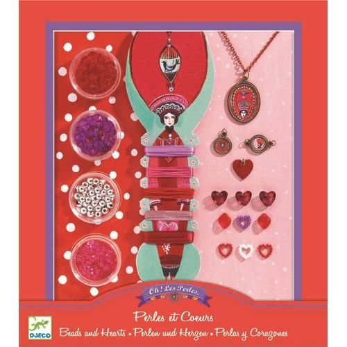 Djeco Jewelry Making Kit, Beads and Hearts